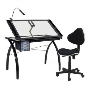 Table à dessin Futura, Noir/transparent