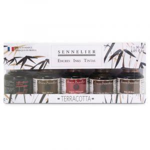 Coffret Sennelier, 5 flacons, Terracotta