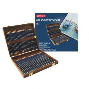 Coffret en bois de crayons aquarellables Watercolour (mine 3,4 mm), 48 crayons