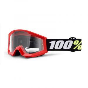 Masque cross enfant 100% Strata mini Red Clear lens