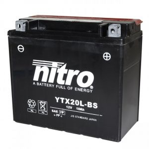 Batterie Nitro YTX20L-BS 12V 18 Ah avec acide