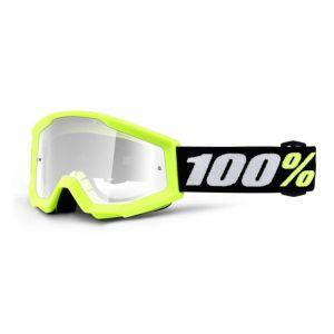 Masque cross enfant 100% Strata mini Yellow Clear lens