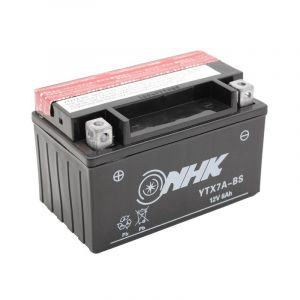 Batterie NHK YTX7A-BS 12V 6Ah  avec entretien livrée avec pack acide