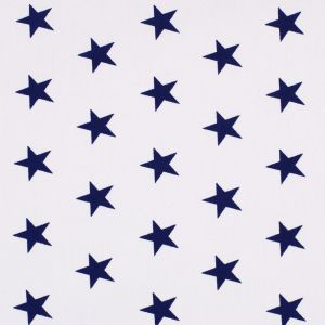Tissu Popeline Coton Blanc Etoiles bleu marine