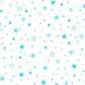 Tissu Robert Kaufman Flanelle Coton Blanc Etoiles turquoise