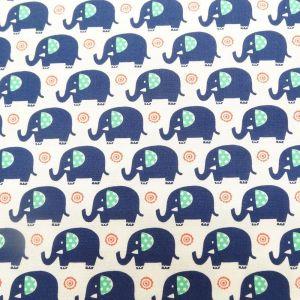 Tissu Michael Miller Mini Elephants Bleu