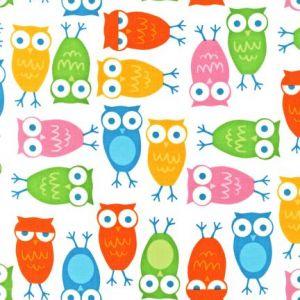Tissu Robert Kaufman Urban Zoologie Owls White