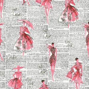 Tissu Robert Kaufman City Chic 2 Femme rose et Texte noir