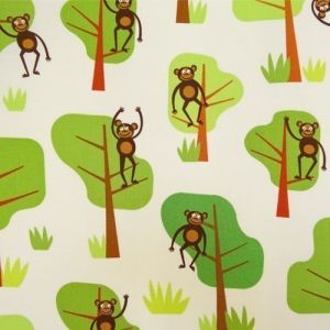 Tissu Robert Kaufman Jungle party Monkeys Bermuda