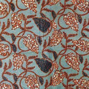 Tissu Wax Africain Lurex n°110 Blanc Feuilles rouges et noires