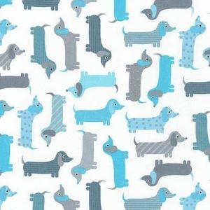 Tissu Robert Kaufman Urban Zoologie Weenie Dogs Aqua