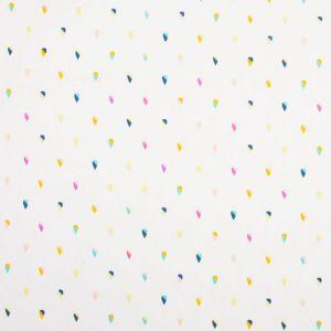 Tissu Popeline Coton Blanc Gouttes multicolores