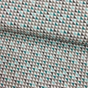 Tissu Popeline imprimée Blanc Motifs aztèques Bleus et gris