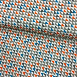 Tissu Popeline imprimée Blanc Motifs aztèques Oranges, bleus et gris