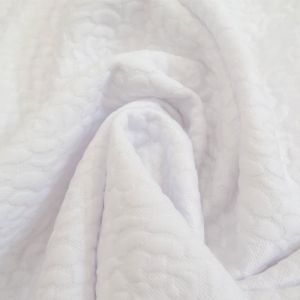 Tissu Jersey matelassé Blanc Fleurs