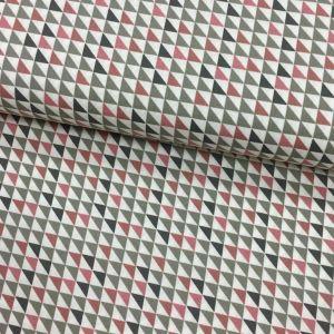 Tissu Popeline imprimée Blanc Motifs aztèques Roses et gris