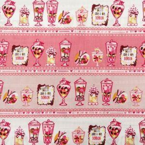 Tissu Popeline Coton Rose bébé Tasses de bonbons fushia et blanc