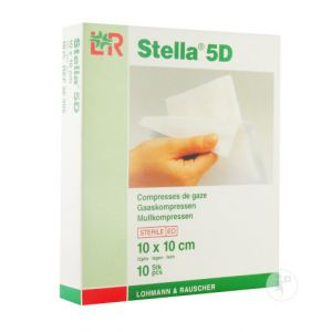 Lohmann & Rauscher Stella 5D Compresse De Gaze Stérile 10x10cm 10 Pièces (36305)