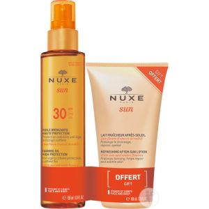 Nuxe Sun Visage Corps Toutes Peaux Huile Bronzante IP30 Spray 150ml + Lait Après-Soleil 100ml Offert