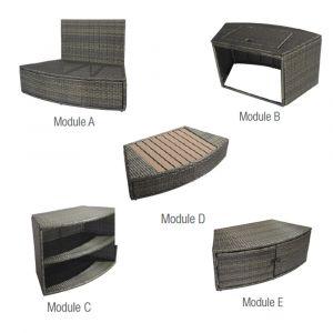 Ensemble 5 modules de mobilier spa octopus