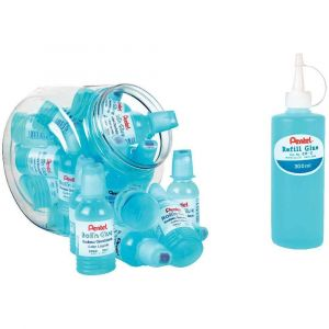 Pack de 24 flacons de colle Roll'n glue 55ml + recharge: flacon de colle 300ml.