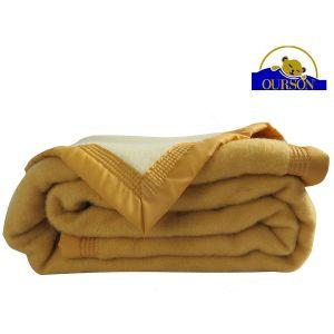Couverture pure laine woolmark ourson 600 gr sarrazin 180x220
