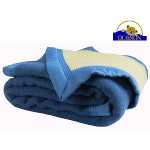 Couverture pure laine woolmark ourson 600 gr bleu 240x260