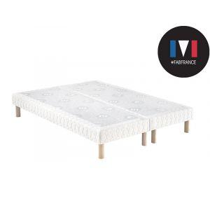 Sommier tapissier à lattes merinos confort ferme 2x80x200 + pieds