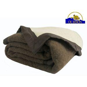 Couverture pure laine woolmark ourson 600 gr chocolat 220x240