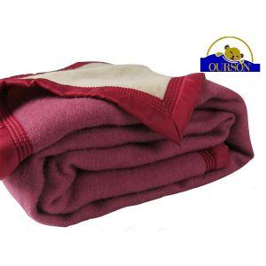 Couverture pure laine woolmark ourson 600 gr pivoine 240x260