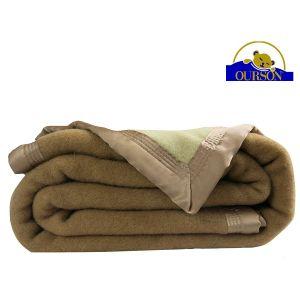 Couverture pure laine woolmark ourson 600 gr sol 180x220