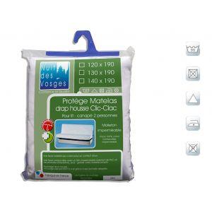 Protège matelas clic-clac imperméable coton contrecollé céline 130x190