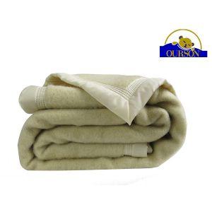 Couverture pure laine woolmark ourson 600 gr ecru 220x240