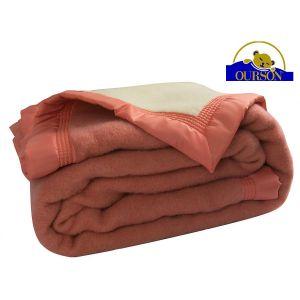 Couverture pure laine woolmark ourson 600 gr pêche 180x220
