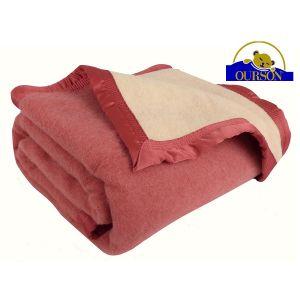 Couverture pure laine woolmark ourson 600 gr rose 220x240