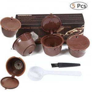 5 Pièces de Capsule Filtre de Café Rechargeable Capsule de Café Réutilisable pour Dolce Gusto avec C - Neuf