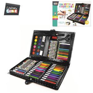 Malette De Coloriage 86 Pièces Feutres Crayons De Couleurs Pastels Peintures À L'eau Pinceau Peinture ... Idéal Loisirs Créatifs - Neuf