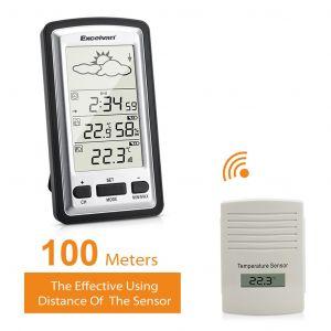Station météo sans fil LCD Digital température min / max intérieure et extérieure humidité Prévisions météo IPX3 étanche capteur extérieur - Neuf