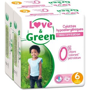 Couches Jetables Love Green - Pack De 16 Culottes Hypoallergéniques - Taille 6 (+ De 16 Kg) - Lot De 2 105230 - Neuf