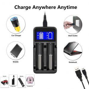 doauhao®Chargeur intelligent, universel pour piles rechargeables Batteries Li-ion 18650 - Neuf