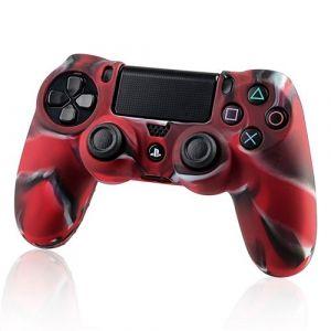 Housse Coque Étui De Protection En Silicone Pour Manette Pad Joystick Dual Shock Sony Playstation 4 (Ps4), Rouge Camouflage - Neuf