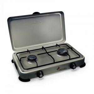 Plaque de cuisson gaz portable 2 feux 3200 W SILVER 2 butane-propane Gris aluminium couvercle - Neuf