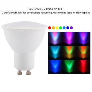 Ampoule LED GU10 3W RGB blanc chaud, lampe à couleur changeante avec télécommande - Neuf