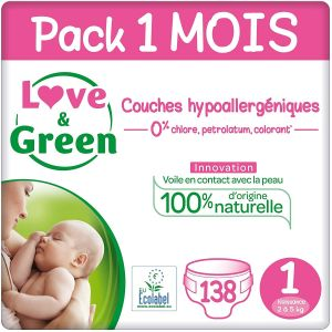 Couches Jetables Bébé Love Green Couches Taille 1 (2-5 Kg) - Pack 1 Mois (138 Couches) 166843 - Neuf