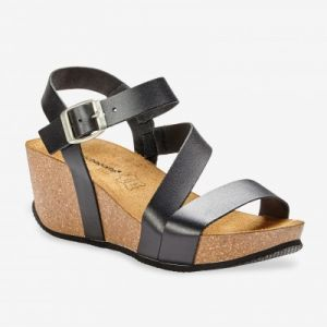 Sandales compensées cuir - noir