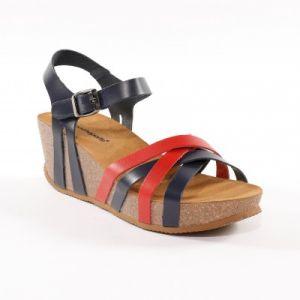 Sandales compensées cuir bicolore - marine