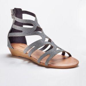 Sandales spartiates montantes pailletées - gris