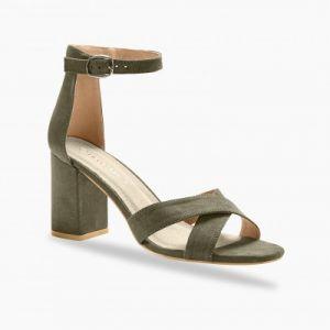 Sandales à talon dessus croisé - kaki
