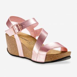 Sandales compensées en cuir - rose doré