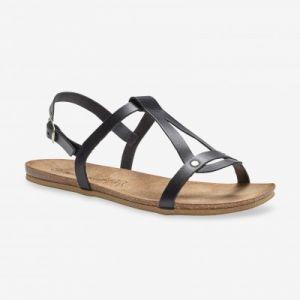 Sandales plates cuir noir